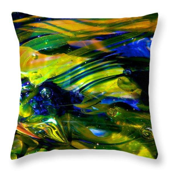 Blue Green Glass Macro Throw Pillow by David Patterson