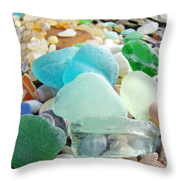 Blue Green Sea Glass Coastal Art Throw Pillow by Baslee Troutman Fine Art Prints