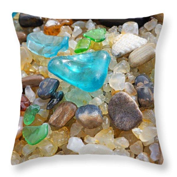 Blue Green Seaglass Coastal Beach Baslee Troutman Throw Pillow by Baslee Troutman Fine Art Photography