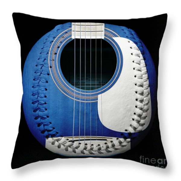Blue Guitar Baseball White Laces Square Throw Pillow by Andee Design