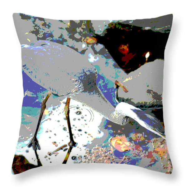 Blue Heron  Throw Pillow by Don Wright