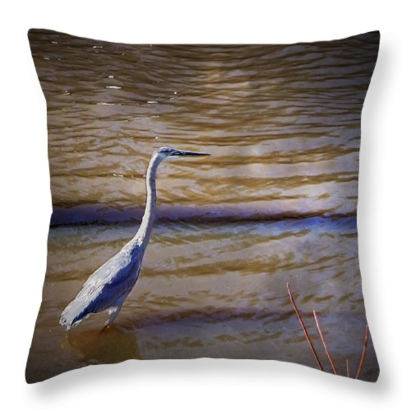 Blue Heron - Shallow Water Throw Pillow by Brian Wallace