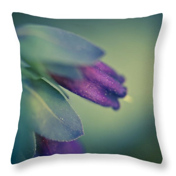 Blue Honeywort Throw Pillow by Priya Ghose