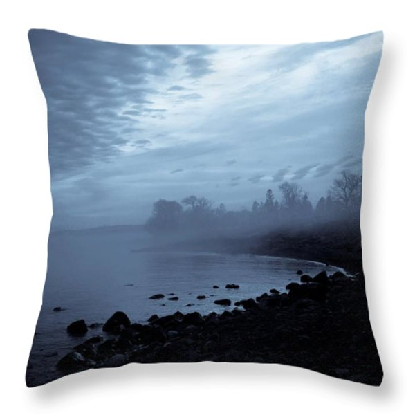 Blue Hour Mist Throw Pillow by Mary Amerman