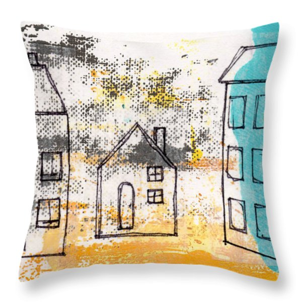 Blue House Throw Pillow by Linda Woods