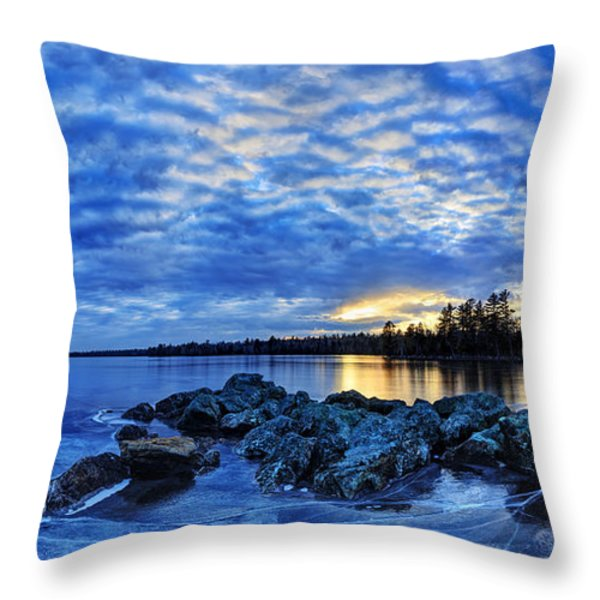 Blue Ice At Sunset Throw Pillow by Bill Caldwell -        ABeautifulSky Photography