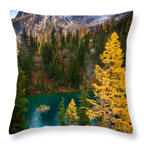 Blue Lake and Early Winter Spires Throw Pillow by Inge Johnsson
