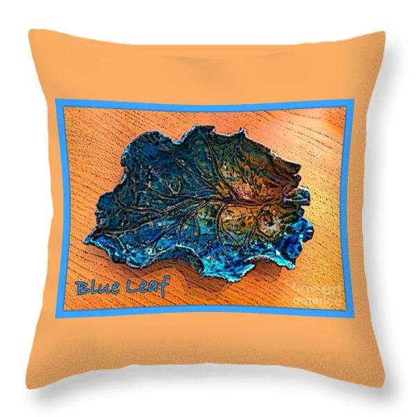 Blue Leaf Ceramic Design 2 Throw Pillow by Joan-Violet Stretch