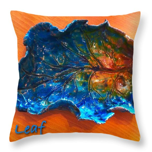 Blue Leaf Ceramic Design 3 Throw Pillow by Joan-Violet Stretch