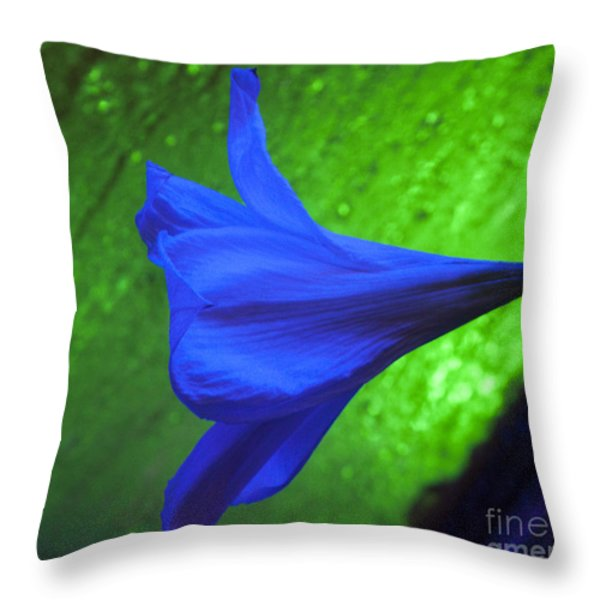 Blue Lily On Green Throw Pillow by Darleen Stry