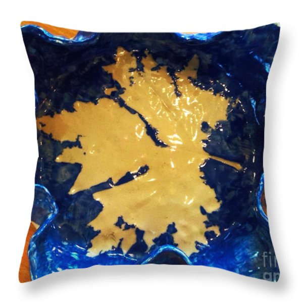 Blue Maple Leaf Dish Throw Pillow by Joan-Violet Stretch