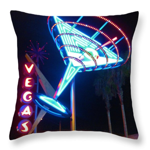Blue Martini Glass Las Vegas Throw Pillow by John Malone