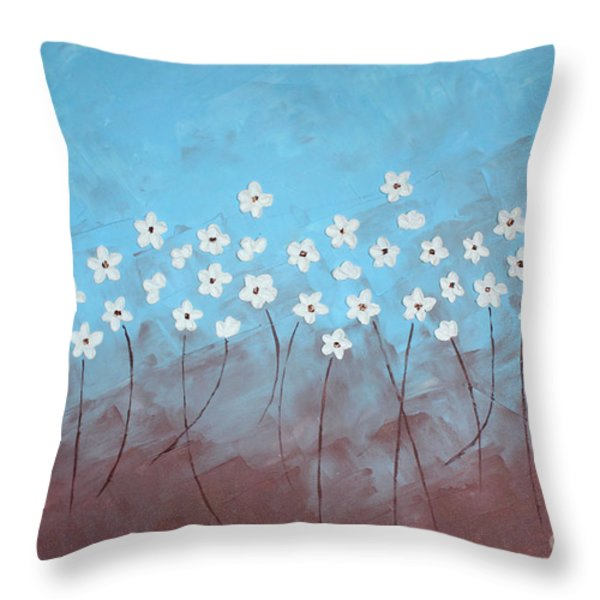Blue Meadow Throw Pillow by Home Art