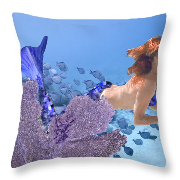 Blue Mermaid Throw Pillow by Paula Porterfield-Izzo
