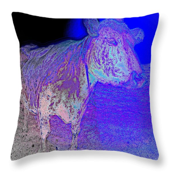 blue mooh Throw Pillow by Hilde Widerberg