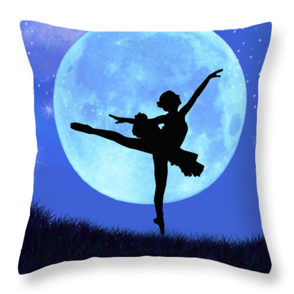 Blue Moon Ballerina Throw Pillow by Alixandra Mullins