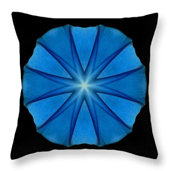 Blue Morning Glory Flower Mandala Throw Pillow by David J Bookbinder