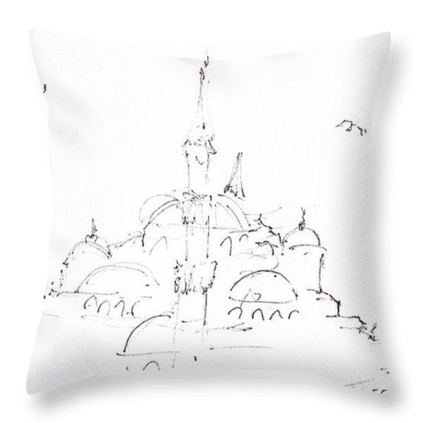 Blue Mosque Throw Pillow by Valerie Freeman