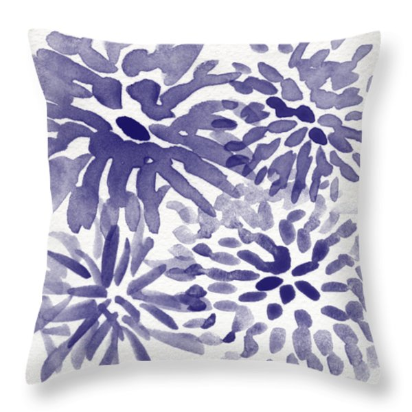 Blue Mums- Watercolor Floral Art Throw Pillow by Linda Woods