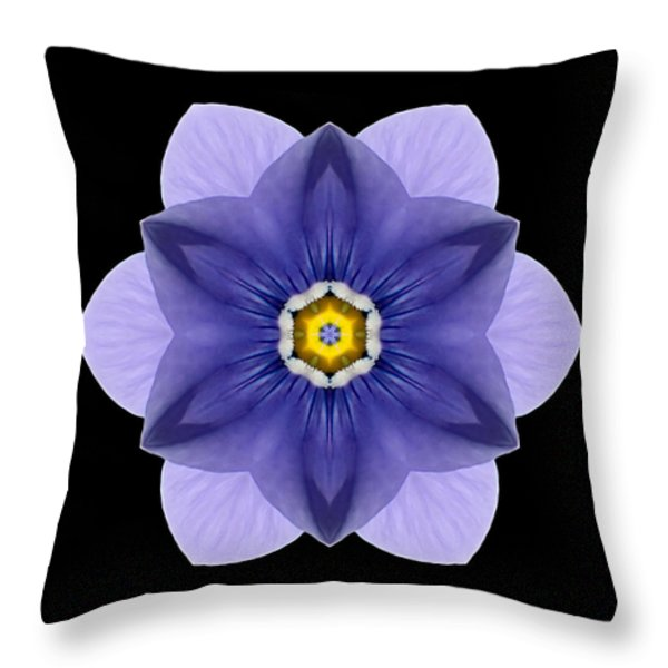Blue Pansy I Flower Mandala Throw Pillow by David J Bookbinder