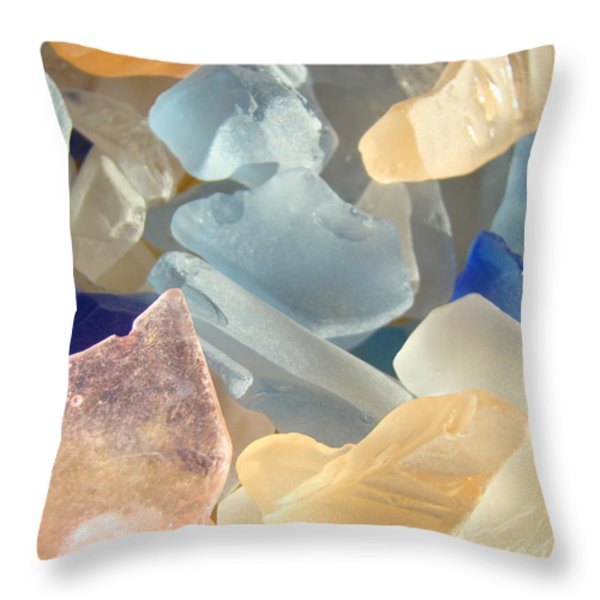 Blue Pink Orange Seaglass Beach Garden Throw Pillow by Baslee Troutman