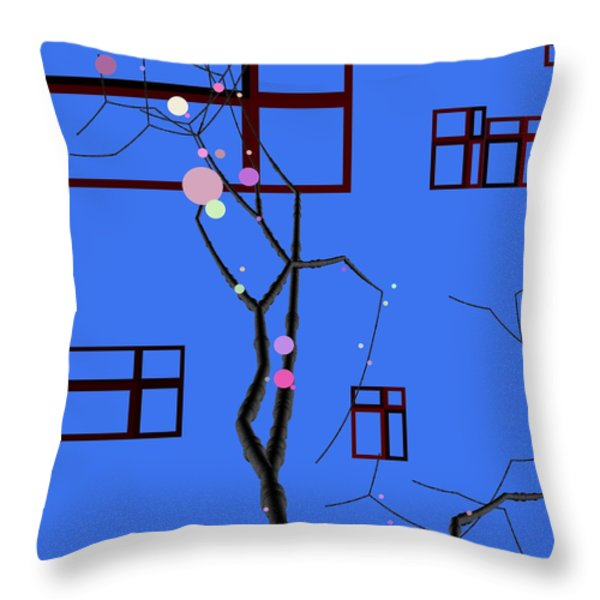 Blue Plum Flower Dancer Throw Pillow by GuoJun Pan