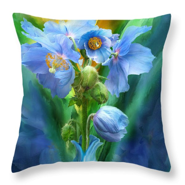 Blue Poppies In Poppy Vase Throw Pillow by Carol Cavalaris