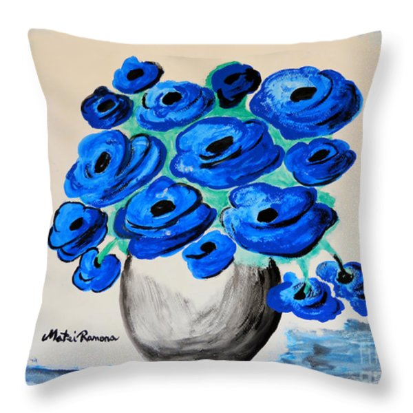 Blue Poppies Throw Pillow by Ramona Matei
