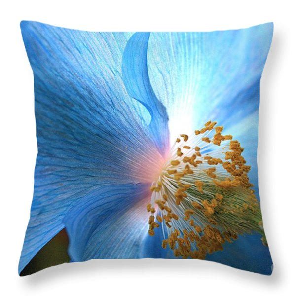 Blue Poppy Throw Pillow by Carol Groenen