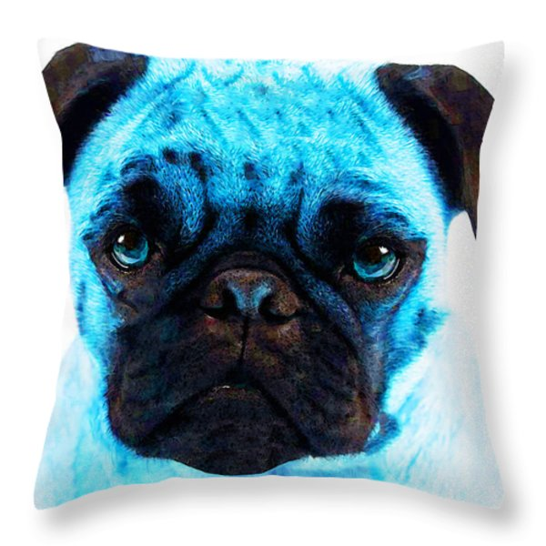 Blue - Pug Pop Art By Sharon Cummings Throw Pillow by Sharon Cummings
