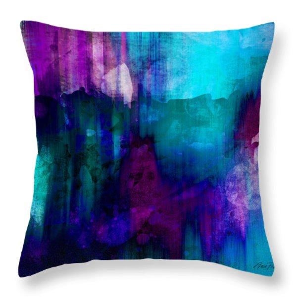 Blue Rain  abstract art   Throw Pillow by Ann Powell