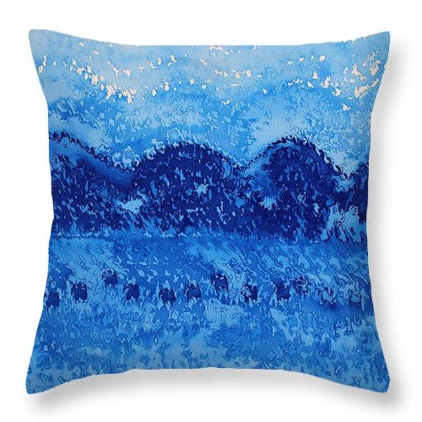 Blue Ridge original painting Throw Pillow by Sol Luckman