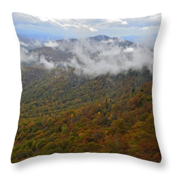 Blue Ridge Parkway Mountain View Throw Pillow by Susan Leggett