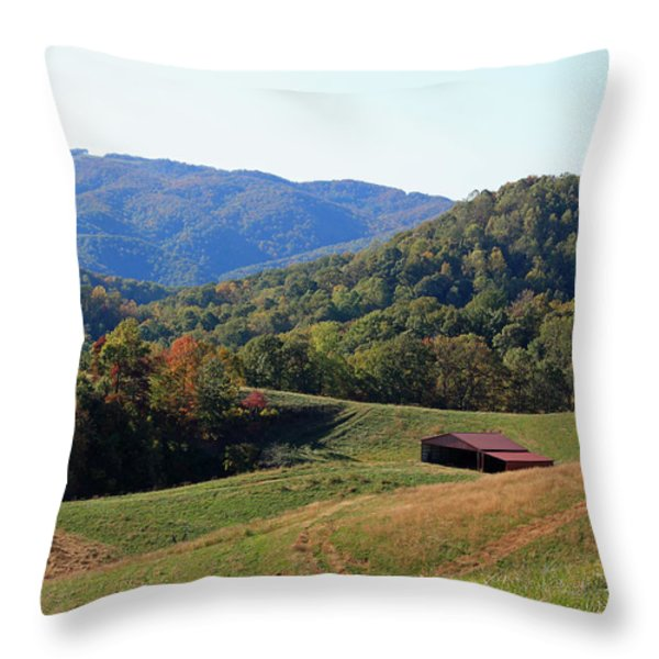 Blue Ridge Scenic Throw Pillow by Suzanne Gaff