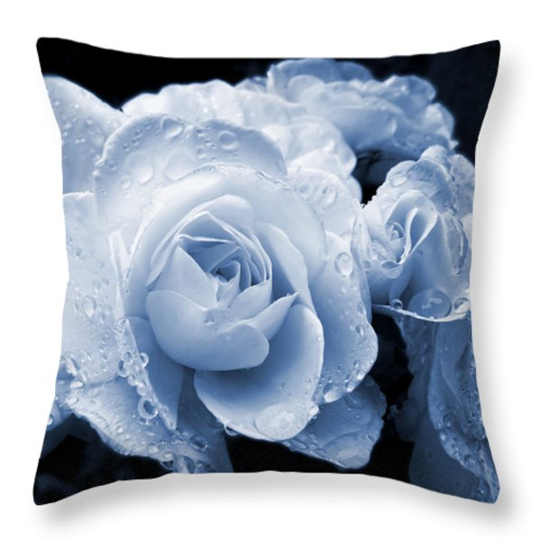 Blue Roses With Raindrops Throw Pillow by Jennie Marie Schell