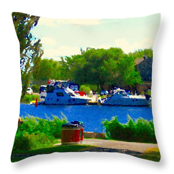 Blue Skies Boats And Bikes Montreal Summer Scene The Lachine Canal Seascape Art Carole Spandau Throw Pillow by Carole Spandau