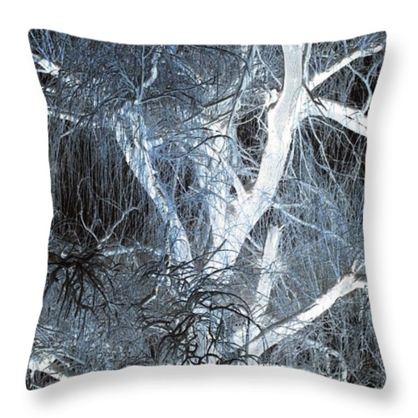 Blue Snow Throw Pillow by Kathleen Struckle