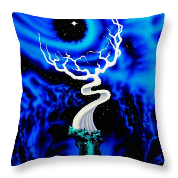 Blue Sprites And Starlight Throw Pillow by Mark Antum