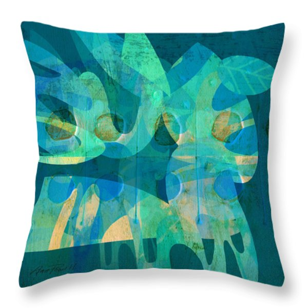 Blue Square Retro Throw Pillow by Ann Powell
