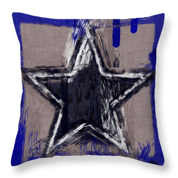 Blue Star Abstract Throw Pillow by David G Paul