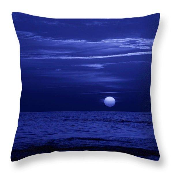 Blue Sunset Throw Pillow by Sandy Keeton
