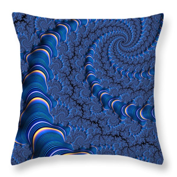 Blue Tubes Throw Pillow by John Edwards