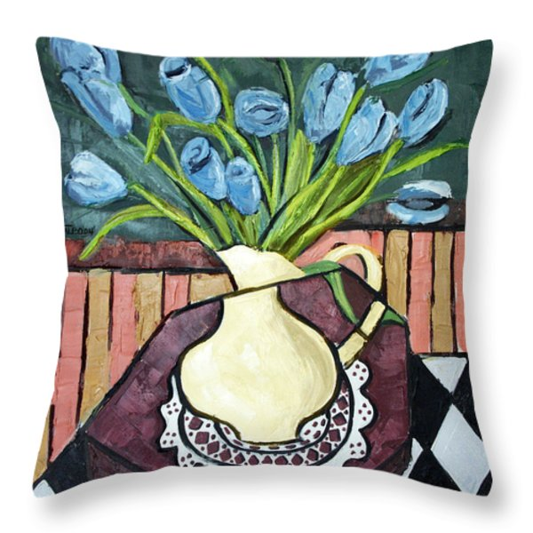 Blue Tulips On Octagon Table Throw Pillow by Anthony Falbo