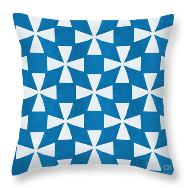 Blue Twirl Throw Pillow by Linda Woods