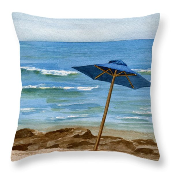 Blue Umbrella Throw Pillow by Nancy Patterson