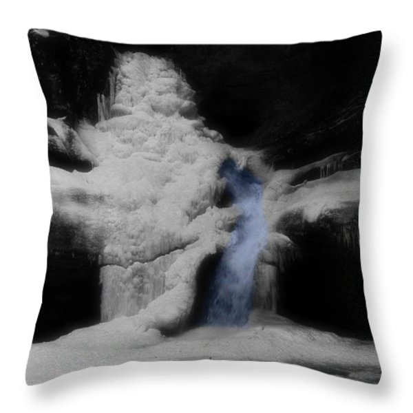 Blue Waterfall Frozen Landscape Throw Pillow by Dan Sproul