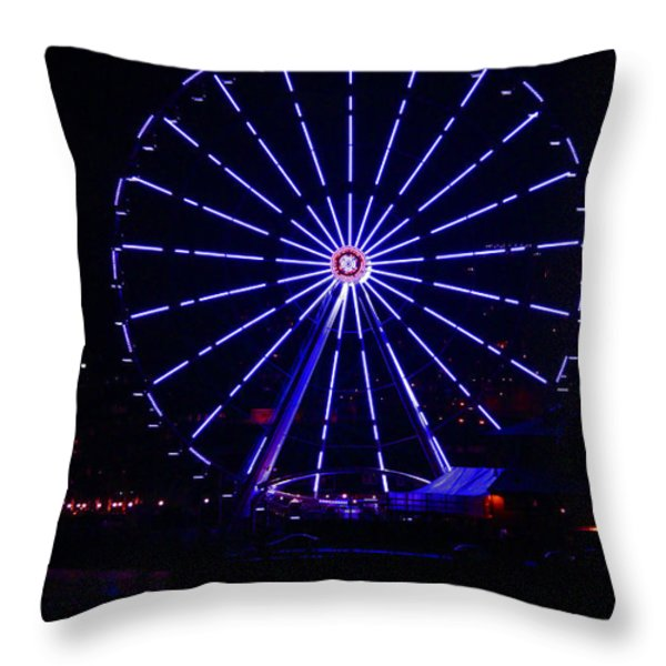 Blue Wheel Of Fortune Throw Pillow by Kym Backland