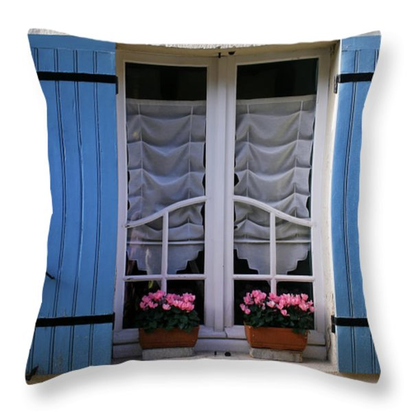 Blue Window Shutters Throw Pillow by Georgia Fowler