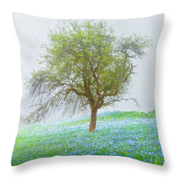 Bluebells Throw Pillow by Debra and Dave Vanderlaan