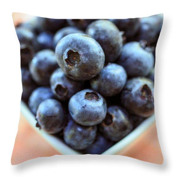 Blueberries Closeup Throw Pillow by Edward Fielding